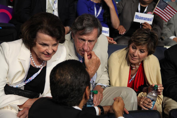Sitting with the California delegation on day 2 of the Democratic National Convention, Sen. Diane Feinstein, her husband Richard C. Blum and Sen. Barbara Boxer listen to Los Angeles Mayor Antonio Villaraigosa.