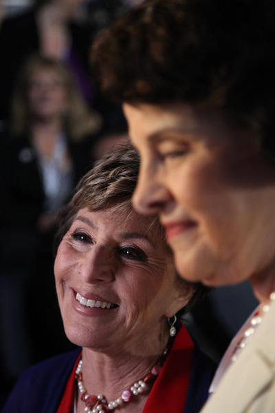 Leading up to a speech by former President Bill Clinton, California Senators Barbara Boxer (left) and Diane Feinstein mingle on the floor of the Democratic National Convention in Charlotte, North Carolina.
