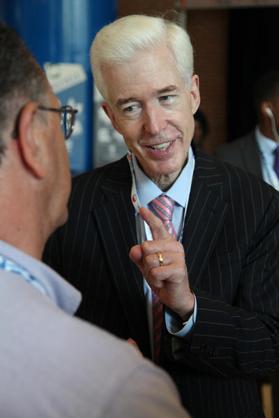 Former California Gov. Gray Davis spoke with admirers in the lobby of the Time Warner Cable Arena, where day 2 of the Democratic National Convention in Charlotte, North Carolina, had just begun.