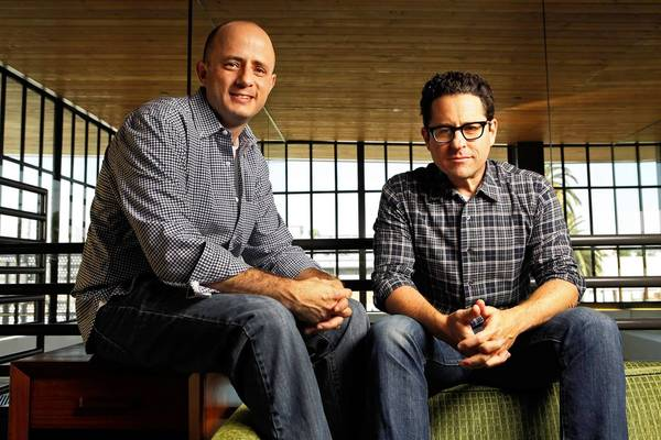 Producers Eric Kripke, left, and J.J. Abrams at Abrams company Bad Robot in Santa Monica.