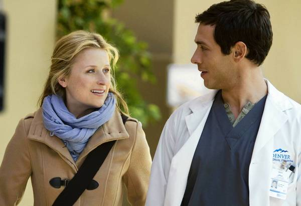 "Mamie Gummer as Emily and Michael Rady as Micah in ""Emily Owens, M.D."""