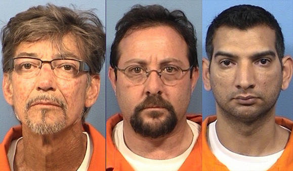 Mark McDonald, 53, David Tepper, 49, and Arif Mahmood, 37. DuPage County Sheriff's booking photos
