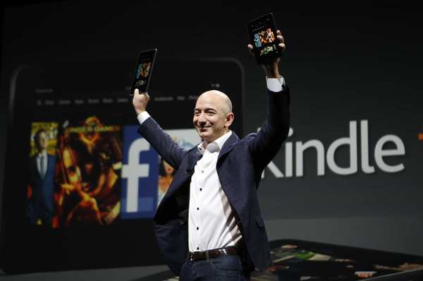 Amazon Chief Executive Jeff Bezos unveils the Kindle Fire HD on Thursday.