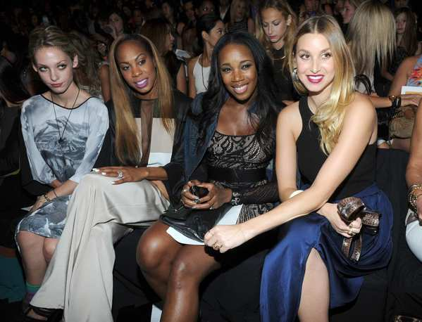 Cory Kennedy, left, Sanya Richards-Ross, DJ Kiss and Whitney Port attend the BCBG Max Azria spring 2013 show.