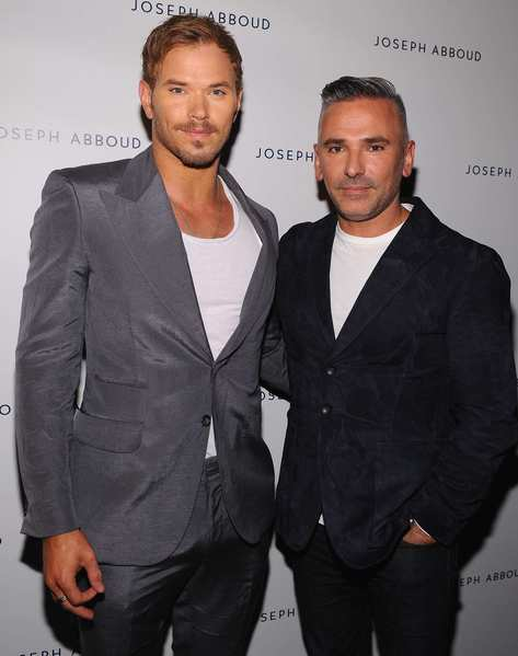 Actor Kellan Lutz, left, and Joseph Abboud creative director Bernardo Rojo arrive backstage at the Joseph Abboud spring 2013 fashion show.