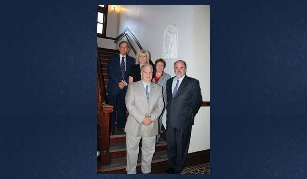 Mount Aloysius College faculty leaders announced that The Hunger Games: Finding A Home in a Dystopia will be the topic of the Convocation Lecture for fall 2012. Well-known author John Granger will serve as MACs Convocation speaker. Shown here from left are: Dr. Paul S. Farcus, division chairperson, health studies and sciences; Dr. Deanne DEmilio, division chairperson, humanities, social science and professional studies; Dr. Timothy Fulop, academic vice president and dean of faculty; Rebecca Zukowski, division chief, MAC Nursing Division and Mount Aloysius President Tom Foley.