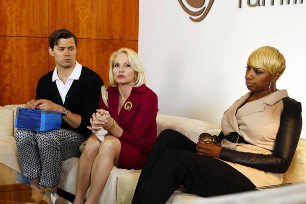 "Andrew Rannells, Ellen Barkin and NeNe Leakes in ""The New Normal."""