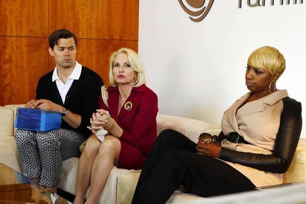 "Andrew Rannells, Ellen Barkin and NeNe Leakes in ""The New Normal."""