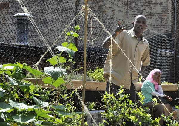 Abdi Hassen and his wife, Soumeya Ibrahim, at the garden he helped build as part of an International Rescue Committee project in the Highlandtown neighborhood of Baltimore.