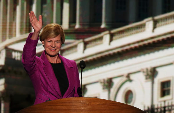 Rep. Tammy Baldwin of Wisconsin, who is trailing in her Senate race, acknowledges the crowd at the Democratic National Convention in Charlotte, N.C.