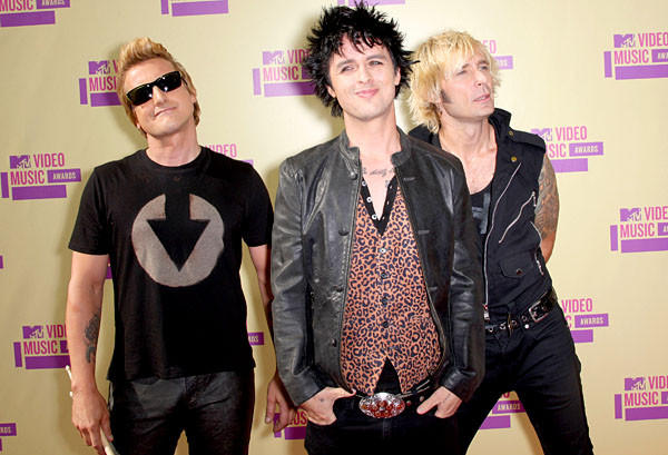 Musicians Tre Cool, Billie Joe Armstrong and Mike Dirnt of Green Day.