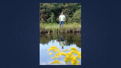 George Lasure stands near one of the ponds he says was damaged during the building of the Flight 93 Memorial