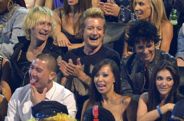 Green Day at the MTV Video Music Awards.  Mike Dirnt, from left, with Tre Cool and Billie Joe Armstrong.