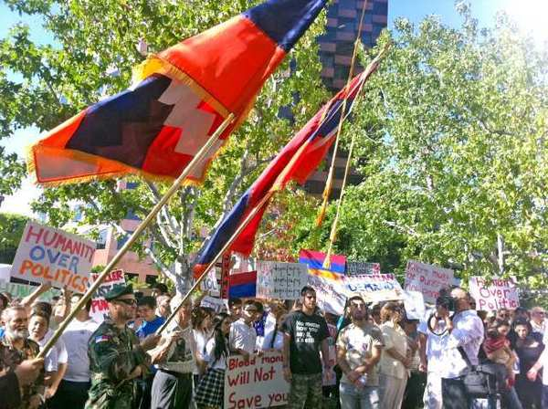 The Armenian Youth Federation and other organizations on Thursday staged a large protest in front of the Hungarian consulate in L.A.