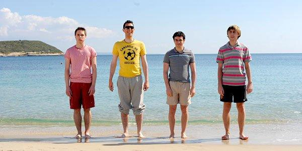 "Joe Thomas, Blake Harrison, Simon Bird and James Buckley in ""The Inbetweeners."""
