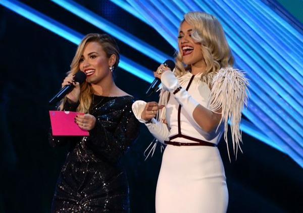 "Demi Lovato (left, with Rita Ora) won her Moon Man before the official broadcast began. Her video for ""Skyscpaer"" was honored in the video with a message category."