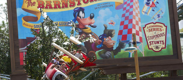 The Barnstormer roller coaster was originally part of Mickey's Toontown Fair as Goofy's Barnstormer on Wisacre Farm, and has now morphed into its current form The Barnstormer featuring the Great Goofini as part of the new Storybook Circus section of the expanded Fantasyland.