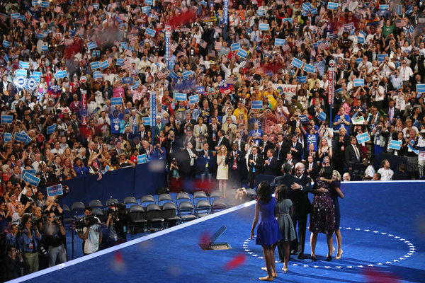 President Obama, Vice President Joe Biden and family members share the stage near the end of the Democratic National Convention.