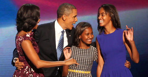 President Barack Obama with first lady Michelle Obama, and daughters, Sasha (2nd from right)  and Malia (right) stand together on the final night of the Democratic National Convention in Charlotte, N.C.