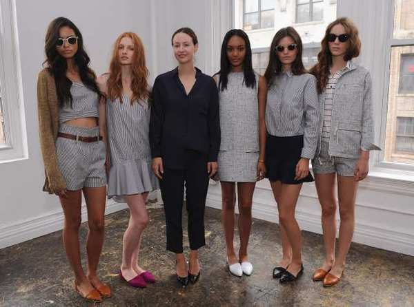 Designer Jenni Kayne (in blue) and five models attend the Jenni Kayne spring 2013 presentation during Mercedes-Benz Fashion Week in New York City.
