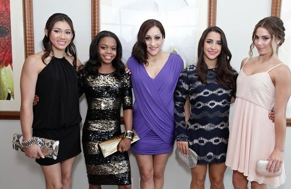 "Members of the ""Fab Five"" U.S. Olympic gold medal gymnastics team attend the 2012 NBA Baller Beats by XBOX 360 VMA Lounge at the Ritz-Carlton Residences at L.A. Live. From left, Kyla Ross, Gabby Douglas, Jordyn Wieber, Aly Raisman and McKayla Maroney."