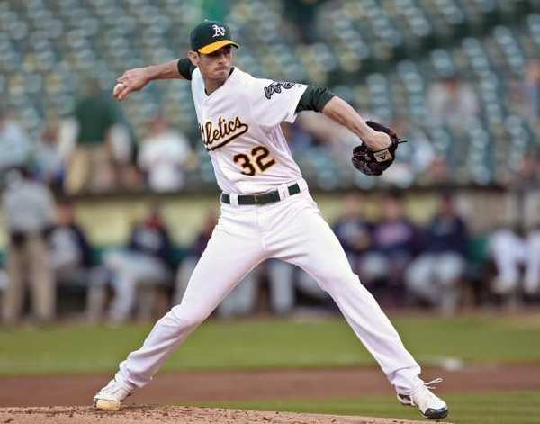 OAKLAND, CA - Brandon McCarthy #32 of the Oakland Athletics pitching during the game against the Minnesota Twins at the Oakland-Alameda County Coliseum.