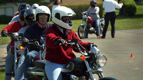 Training programs, such as this one in 2002 at Blackman's Cycle near Emmaus, are now required for young people seeking a motorcycle license.