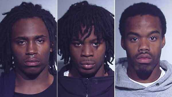 Booking photos of Robert Ford, Davion Henton, and Ronell Shed (from left)