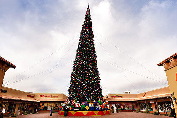 This was the 2011 Christmas tree at a Phoenix outlet mall; this year's tree will arrive about a week before Halloween.