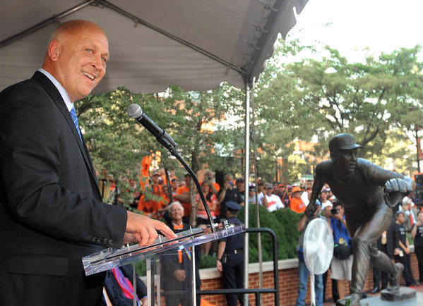 Cal Ripken, Jr. speaks at the ceremonies for the unveiling of his bronze sculpture.