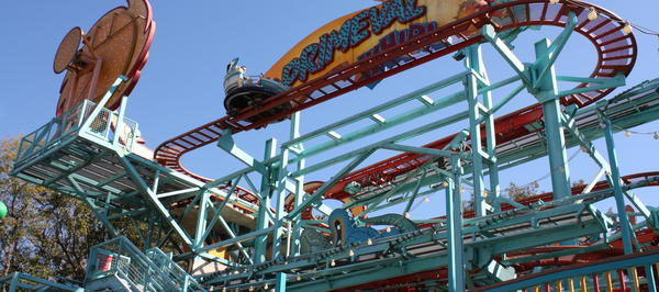 The Primeval Whirl is a coaster-type ride in the carnival-area of Dinoland U.S.A. There's no similar ride at Disneyland Resort.