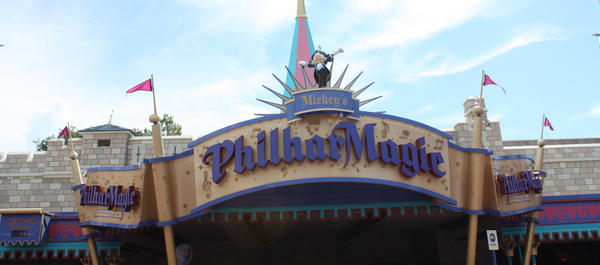 Philharmagic is a 3-D movie featuring Donald Duck going through scenes of several Disney films including The Little Mermaid, Peter Pan, Fantasia and Aladdin. There is no similar attraction at Disneyland Resort.