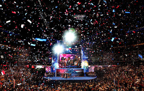 Confetti fills the hall after President Obama spoke at the Democratic National Convention.