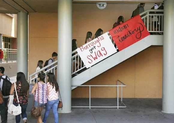 Students climb stairs to the classrooms in Building 2 on the first day of school at John Burroughs High School in Burbank on Monday, August 13, 2012.