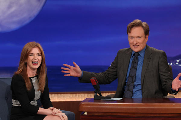 Isla Fisher was Conan O'Brien's first guest of the evening.