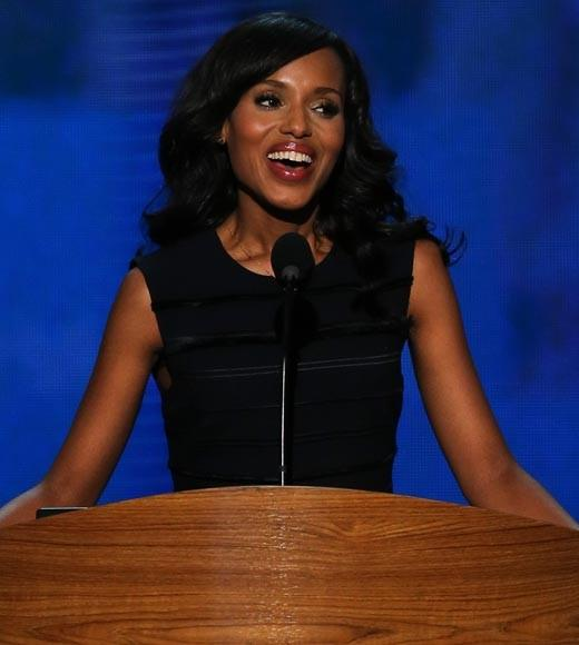 "The ""Scandal"" actress spoke at the Democratic National convention, saying ""I'm here not just as an actress but as a woman, an African-American, a granddaughter of Ellis Island immigrants, a person who could not have afforded college without the help of student loans and as one of millions of volunteers working to re-elect President Obama."""