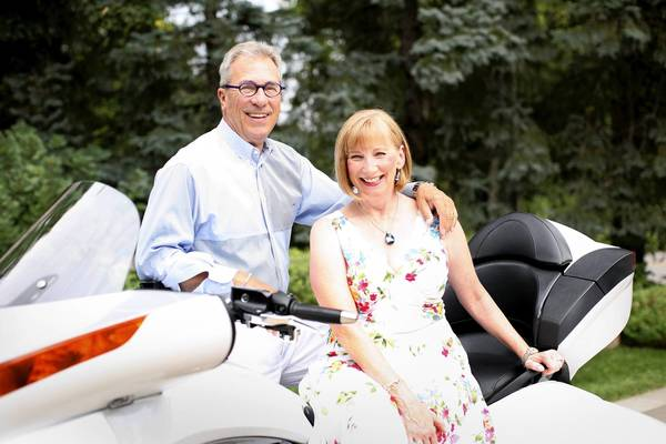 A chance meeting while shopping at FAO Schwartz in Chicago turned into true love for Elaine and Roger Haydock. They married in 1997, riding into their wedding reception on a white Harley.