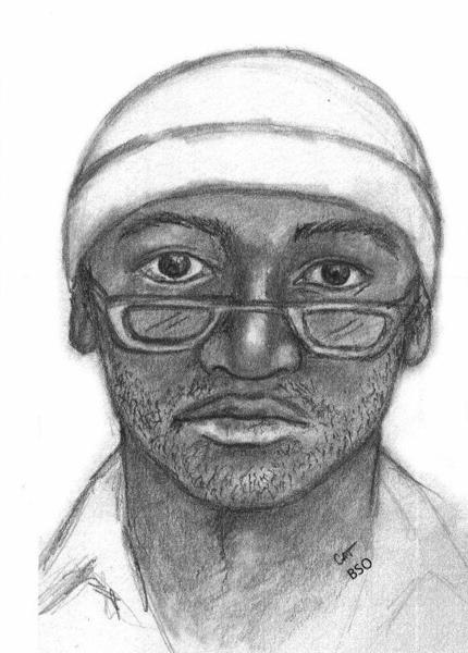 Sketch of suspect wearing the same fishing hat worn during another auto parts store robbery the same day