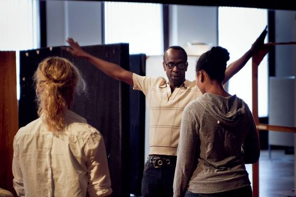 "K. Todd Freeman directs Mariann Mayberry (left) and Alana Arenas in rehearsal for Steppenwolf Theatre Company¿s production of ""Good People."""
