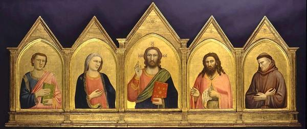 "Giotto di Bondone, ""The Peruzzi Altarpiece,"" 1310-15, tempera and gold leaf on panel."