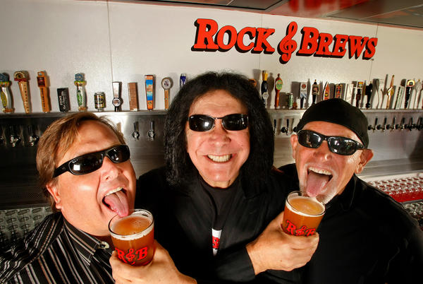 Gene Simmons, center, with his Rock & Brews partners Michael Zislis, left, and Dave Furano.