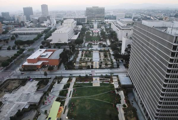 An overview of Los Angeles' new Grand Park from on top of City Hall.