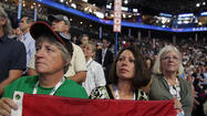 Delegates with rainbow flag, DNC