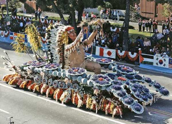 Glendales 1988 rose float depicted an American Indian offering a peace pipe to the world. Carvel Gay, who towed the floats back to Glendale for some twenty-five years, said he had a special connection with that that years float as he is part Native-American, from the Cherokee and Chickasaw tribes in Oklahoma.