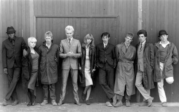 L to R: Trevor Laird as Ferdy, Toyah Willcox as Monkey, Philip Davis as Chalky, Sting as Ace Face, Leslie Ash as Steph, Phil Daniels as Jimmy, Gary Shail as Spider, Garry Cooper as Peter, Mark Wingett as Dave.