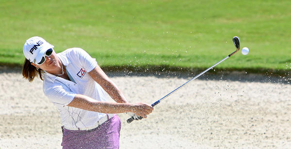 Sophie Gustafson hits out of the sand on the second hole Friday during the second round of the Kingsmill Championship.