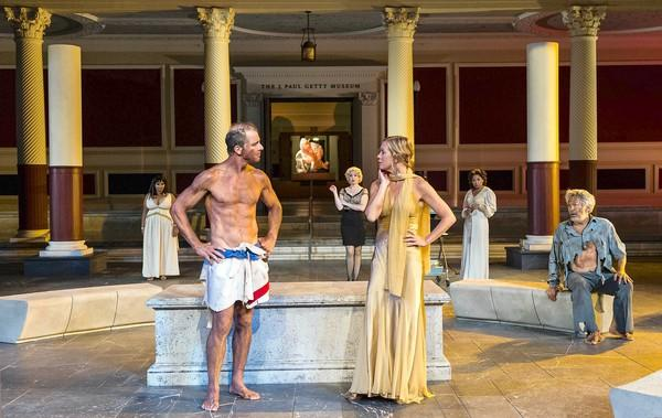"Maxwell Caulfield, front left, and Rachel Sorsa star in ""Helen"" at the Getty Villa."