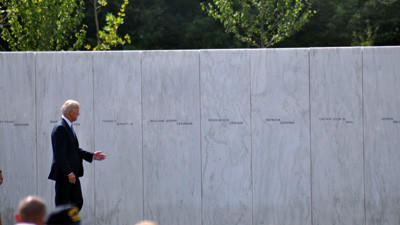 Vice President Joe Biden is scheduled to speak during the Sept. 11, 2001, anniversary at the Flight 93 memorial near Shanksville. Biden is seen at the memorial during his previous visit Sept. 10.