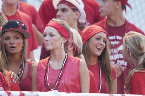 Faces in the crowd at the Parkland football game.