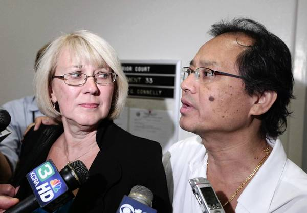 Kathy and Fred Santos, the parents of Luis Santos, discuss a Sacramento County Superior Court judge's ruling that former Gov. Arnold Schwarzenegger didn't violate the law when he reduced the prison sentence for Esteben Nuñez, convicted in the 2008 stabbing death of Santos, a San Diego college student.